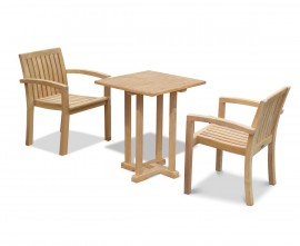 Sissinghurst 60cm Square Table and 2 Antibes Stacking Chairs Set