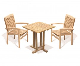 Sissinghurst 70cm Square Table and 2 Cannes Stacking Chairs Set