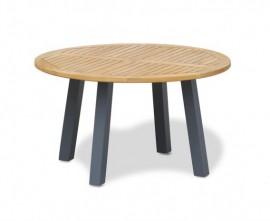 Disk Round Teak Outdoor Table with Aluminium Legs – 1.3m