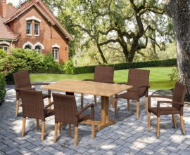 Cornwall 6 Seater Rectangular 1.5m Table with St. Moritz Armchairs