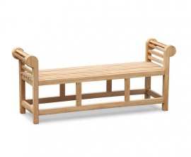 Lutyens-Style Teak Backless Garden Bench - 1.65m