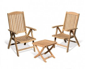 Tewkesbury Garden Reclining Chairs Set with Footrest