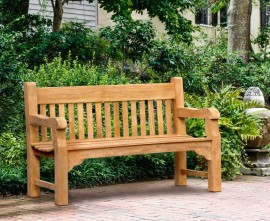 Greenwich Solid Wood Teak Park Bench - 1.5m