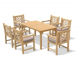 Hampton 6 Seater Rectangular 1.5m Dining Set with Chartwell Armchairs