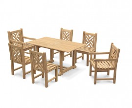 Winchester 6 Seater Teak 1.5m Rectangular Table with Chartwell Chairs