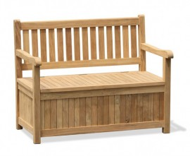 York Teak Garden Storage Bench with Arms - 1.2m