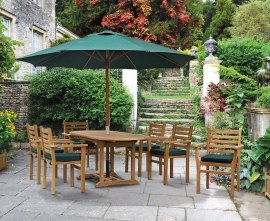 Oxburgh Bijou 6 Seater Single Leaf Extending Table 1.2-1.8m with Sussex Stacking Armchairs