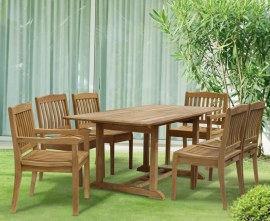 Winchester 6 Seater Teak 1.5m Rectangular Table with Winchester Armchairs and Side Chairs