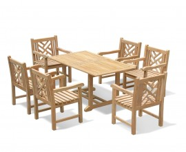 Winchester 6 Seater Teak 1.5m Rectangular Table with Chartwell Armchairs