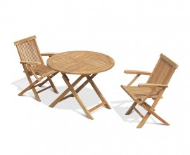 Chester 2 Seater Folding Round Dining Set with Low Back Armchairs