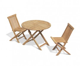 Chester 2 Seater Folding Round Dining Set with Low Back Dining Chairs