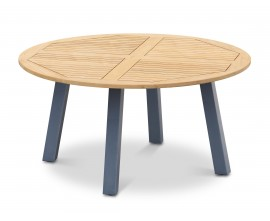 Diskus Round Teak Outdoor Table with Steel Legs - 1.5m