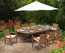8 Seater Garden Dining Set, Teak