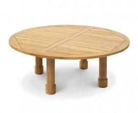 Orion Teak Round Garden Dining Table, Round Leg - 2m