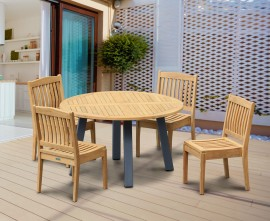 Diskus 4 Seater Teak & Metal 1.3m Dining Set with Winchester Chairs