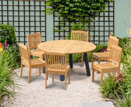 Diskus 6 Seater Teak & Metal 1.5m Dining Set with Winchester Chairs