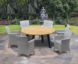 Diskus 6 Seater Teak & Metal 1.5m Dining Set with Verona Armchairs
