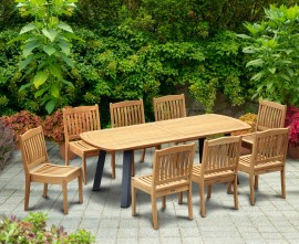 Diskus 8 Seater Teak & Metal 2.2m Dining Set with Winchester Chairs