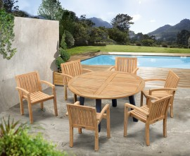 Diskus 6 Seater Teak & Metal 1.5m Dining Set with Antibes Armchairs