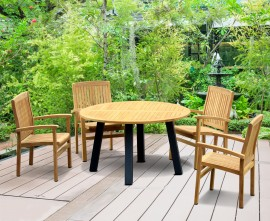Diskus 4 Seater Teak & Metal 1.3m Dining Set with Cannes Armchairs