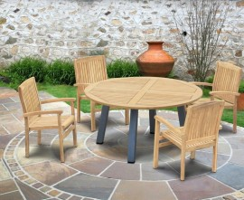 Diskus 4 Seater Teak & Metal 1.5m Dining Set with Cannes Armchairs