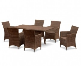 Verona 6 Seater Rattan Outdoor Dining Set with 1.6m Table