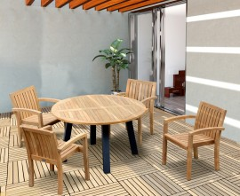 Diskus 4 Seater Teak & Metal 1.3m Dining Set with Antibes Armchairs