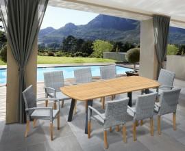 Diskus 8 Seater Teak & Metal 2.2m Dining Set with St. Moritz Armchairs
