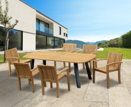 Diskus 6 Seater Teak & Metal 2.2m Dining Set with Antibes Armchairs