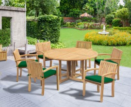Berwick 1.5m Round Table and 6 Antibes Stacking Armchairs Set