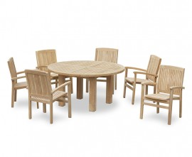 Orion 6 Seater Round 1.5m Garden Table with Cannes Stacking Armchairs