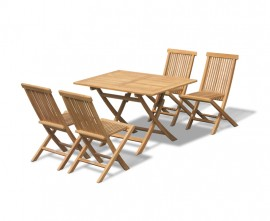 Chester 4 Seater Teak Folding Garden Dining Set with Low Back Chairs