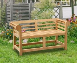 Teak Low Back Lutyens-Style Outdoor Bench - 1.35m