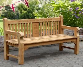 Gladstone Teak Queen's Platinum Jubilee Commemorative Bench - 1.8m