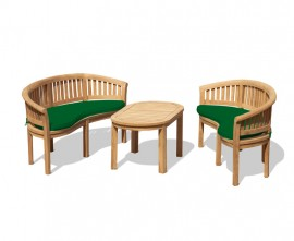 Wimbledon Teak Coffee Table and Banana Benches Set