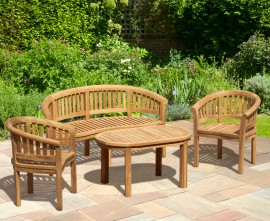 Wimbledon Teak Coffee Table Set with Banana Bench and Armchairs