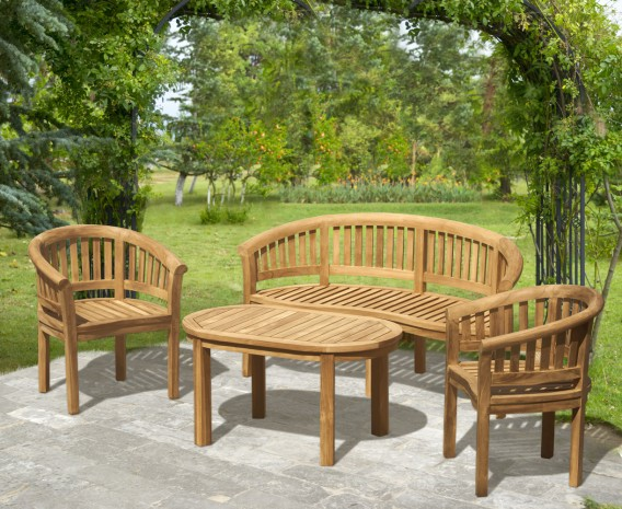 Apollo Teak Conversation Set with Banana Bench and Armchairs