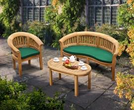 Apollo Banana Deluxe Teak Conversation Set with Bench & Armchair