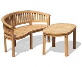 Wimbledon Teak Banana Bench and Coffee Table Set