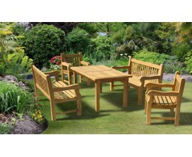 Solid Garden Table and Chairs | Gladstone Teak Dining Sets
