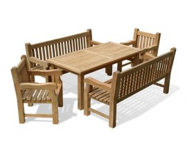 Garden Table and Bench Set | Teak Outdoor Dining Set with Bench