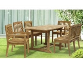 Outdoor Dining Table and Chairs | Medium Hardwood Dining Sets